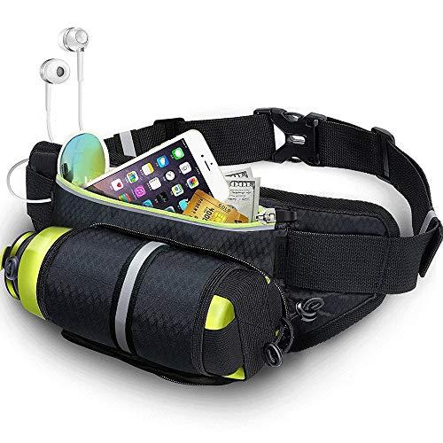 YIJIAHUI-Sport Riñonera con soporte para botella de agua, impermeable, cinturón de hidratación reflectante para correr, senderismo, viajes, universal, para hombres y mujeres, color negro, tamaño 13.8*4.6in