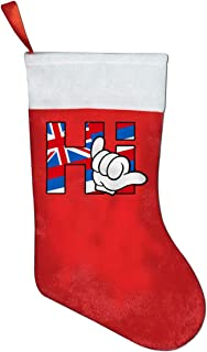 A19SDW Christmas Stockings Hi Hawaiian 2 Personalized Christmas Hanging Stocking 16.5 in Red and White Felt,for Family Holiday Xmas Halloween Party Decorations