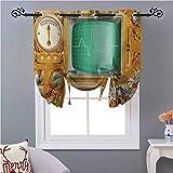 Cortinas opacas de estilo victoriano industrial, estilo victoriano, estilo Grunge Steampunk, estilo retro, 54 pulgadas de largo, ahorro de energía, cortina de ventana para cafetera/cocina, naranja,...