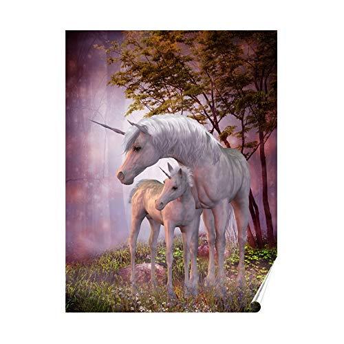 Herzl-Manufaktur Poster mit Einhorn Pegasus 30x 40cm Einhörner Familie Fantasy Kinderzimmer mit Kind (PO Einhornfamilie)