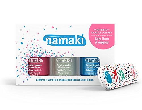 Namaki- Coffret 3 Vernis pelables Rose-Blanc-Bleu Ciel + Lime à Ongles Vegan, 110901,