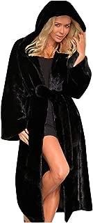 Eoeth Women Plus Size Faux Fur Coat Warm Furry Long Jacket Long Sleeve Outerwear Solid Overcoat Windbreaker Trench Hoodie