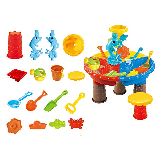 Beach Toys Sand Toys Set, Bucket with Sifter, Shovels, Rakes, Watering Can, Animal and Castle Molds in Drawstring Bag Summer Outdoor Toy (A-21 Piece)