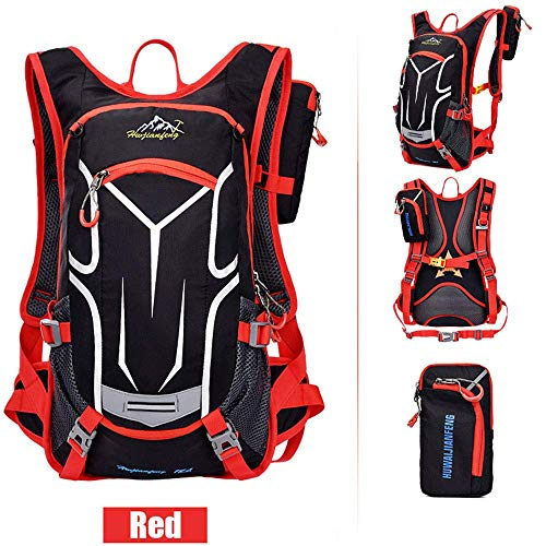Sac à dos de vélo 18L, sac à dos durable et respirant, imperméable et anti-vol, pour le voyage en plein air, contenant des poches multifonctions, pour la course à pied et la randonnée.Etc,Rouge