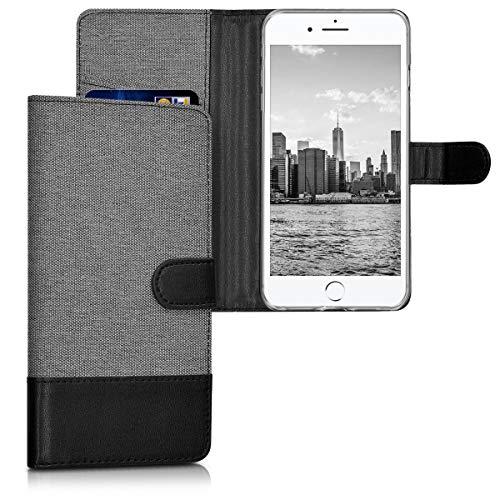 kwmobile Wallet Hülle kompatibel mit Apple iPhone 7 Plus / 8 Plus - Hülle Kunstleder mit Kartenfächern Stand in Grau Schwarz