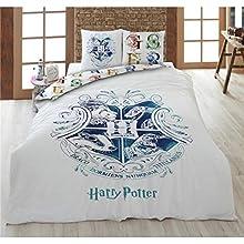 Harry Potter Juego de ropa de cama, funda nórdica de 200 x 200 cm + 2 fundas de almohada + sábana bajera de 140 x 200 cm, 100% algodón