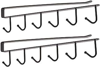 قطعتان من الرفوف التخزين للمطبخ متعددة الوظائف خزانة عقافات تعليق للرف حامل منظم خزانة الملابس - اسود