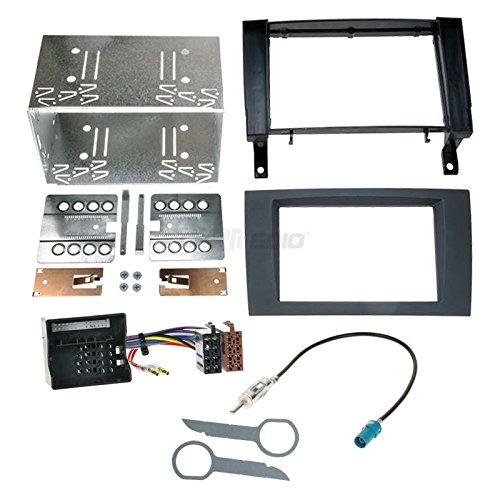 Mercedes SLK R171 05-11 2-DIN Autoradio Einbauset in original Plug&Play Qualität mit Antennenadapter Radioanschlusskabel Zubehör und Radioblende Einbaurahmen schwarz