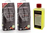 LotusGrill - Juego de 2 sacos de carbón vegetal de haya de 2,5 kg, incluye pasta combustible LotusGrill de 500 ml, ambos diseñados para cocinar con poco humo con la barbacoa LotusGrill