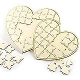 Anladia 60tlg Doppel-Herz Gästebuch Holz Puzzle Hochzeitsgästebuch Hochzeit Taufe Geschenkidee