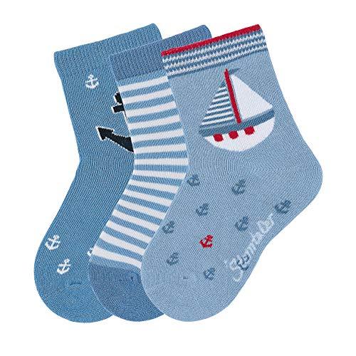 Sterntaler Baby Jungen Söckchen 3er-pack Boot Socken, Blau (Himmel 325), 6-9 Monate EU