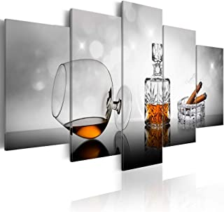 Wine and Cigar Canvas Prints Wall Art Glass Picture 5pcs Artwork Painting Decor Home Office Decoration Ready to Hang White...