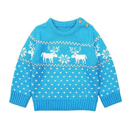 ZODOF Suéter de Alces para niños de Navidad Infantil Baby Boys Chica de Manga Larga de Dibujos Animados Navidad Tops Punto suéter Ropa