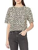 Monrow Women's Cheetah Cut Off Sweatshirt, Bone, X-Small