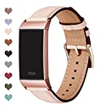 OMIU Compatible with Fitbit Charge 3 Bands for Women Men, Square Genuine Leather Classic Band Replacement for Charge 4 & Charge 3 & Charge 3 SE (Pink Sand/Rose Gold Connector)