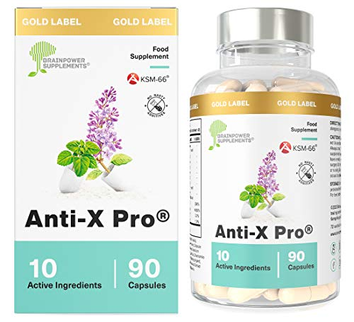 Anti X Pro | 90 Capsules | KSM-66 Ashwagandha | Lemon Balm | 5-HTP | L-Theanine | Lavender| Chamomile | Vitamin D | Vitamin B12 | No Artificial Additives & Non GMO | Vegan and Gluten Free