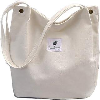 Funtlend Damen Handtasche Groß Canvas Tasche Damen Umhängetasche Henkeltasche Damen für Mädchen Schule Uni-Upgraded-40  35  11