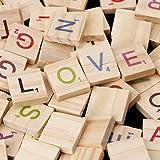 Cuigu 100 Stück/Set Block Alphabet aus Holz, Scrabble Buchstaben, für Spielzeug aus Holz, Alphabet, Handwerkskunst
