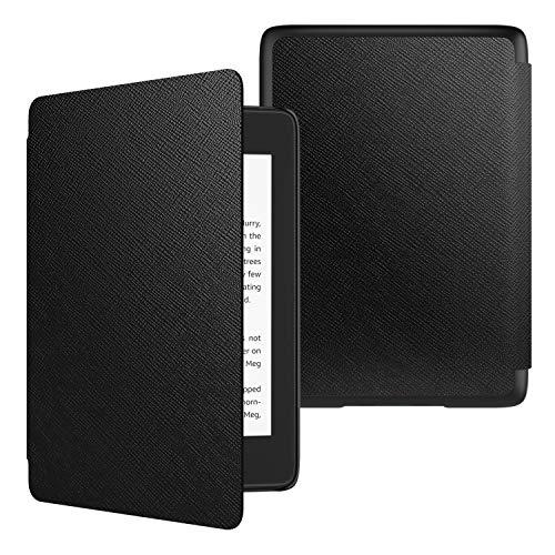 TiMOVO Funda para Kindle Paperwhite (10th Gen, 2018 Releases), Funda de SmartShell Delgada y Ligera de Cuero PU con Auto Sueño/Estela para Amazon Kindle Paperwhite 2018 E-Reader - Negro