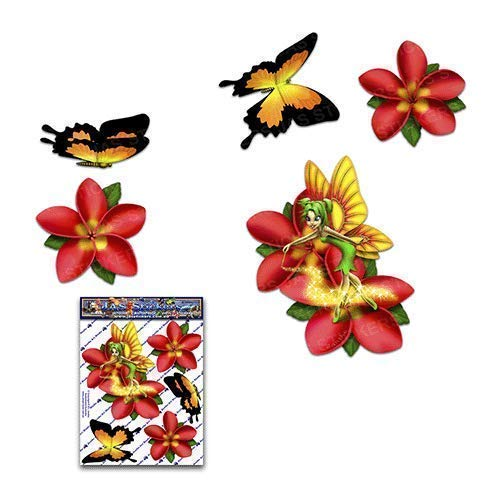 Fantasía de hadas frangipani flor rojo plumeria + mariposa pegatinas de coche...