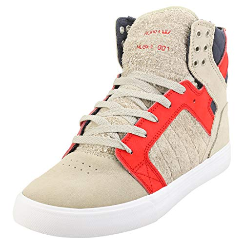Supra Unisex Skytop Hohe Sneaker, Grau (Stone/Risk RED-White-M 372), 42 EU