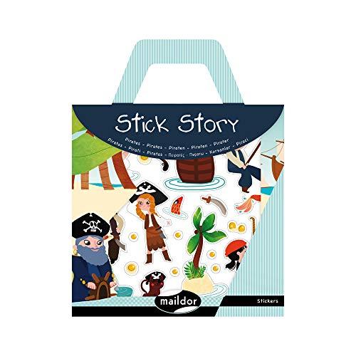 Maildor 566403O - Une valisette Stick'story comprenant 2 décors + 4 planches de stickers repositionnables, Pirates (91 stickers)