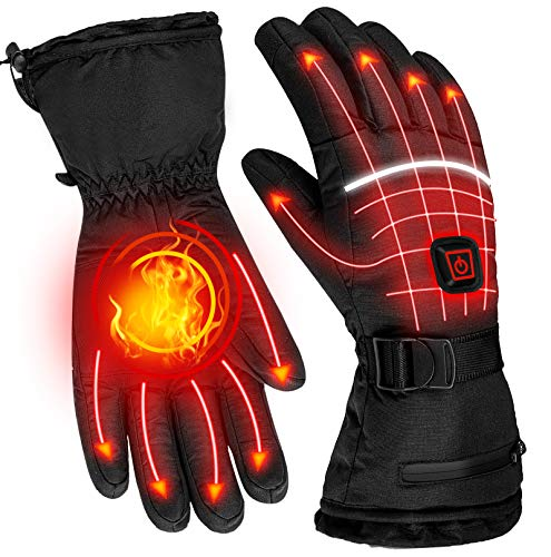 UJUJIA Heated Gloves Liners for Men Women, Rechargeable Electric Battery Heated Glove, Waterproof Winter Thermal Gloves, Warm Touchscreen Gloves for Outdoor Sports Skiing Skating Hiking Hunting.