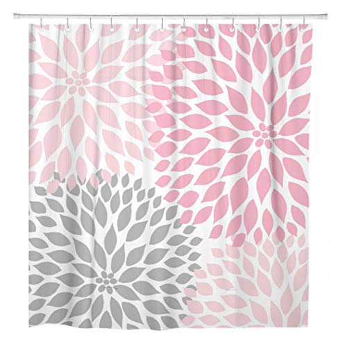 ArtSocket Shower Curtain Pale Pink Gray White Dahlias Odorless Home Bathroom Decor Polyester Fabric Waterproof 72 x 72 Inches Set with Hooks
