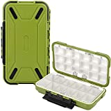 Uniwit Fishing Tackle Box Compact Waterproof Fishing Storage Box, Plastic Fishing Lure Box, Removable Grid Storage Organizer Making Kit for Fishing Lure/Hook Beads Earring Container Tool (Green)
