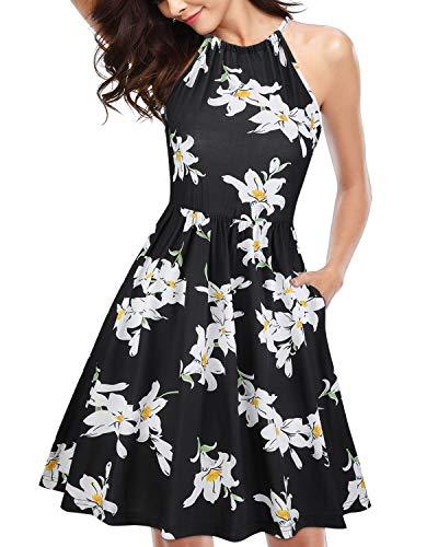 KILIG Women's Halter Neck Floral Sundress Casual Summer Dresses with Pockets (A2-Floral,Large)