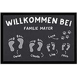 SpecialMe® Fußmatte Willkomen bei Familie und Wunschname Fußabdrücke personalisierbar rutschfest & waschbar weiß 60x40cm
