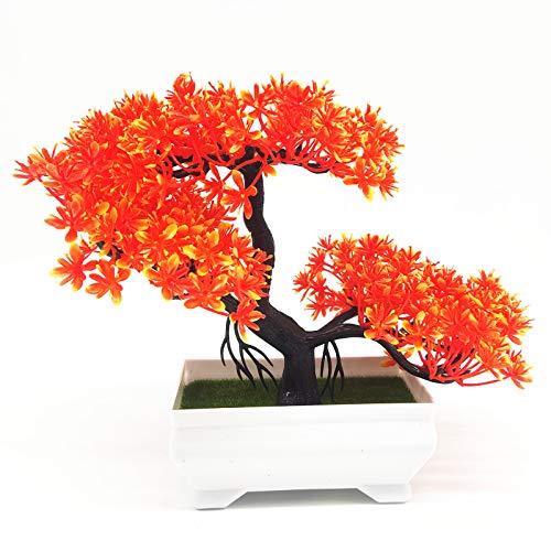 180mm árbol de bonsai en la decoración de plantas artificiales de pote para la oficina/hogar naranja