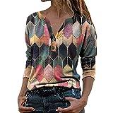 PRJN Camisas para Mujer Blusas Sueltas con Botones para Mujer Blusas Sueltas con Cuello en V y Botones Henley para Mujer Blusas Informales Sueltas Tops Tipo túnica Camisas Henley para Mujer Blusa
