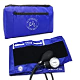 EMI Aneroid Sphygmomanometer Manual Blood Pressure Cuff - Plus Carrying Case (Large Adult - Royal)
