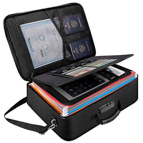 XLarge - Organizador de documentos, bolsa de almacenamiento de archivos, resistente al fuego e impermeable para viajes, caja importante con código de seguridad..