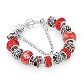 Gome-z Ribbon Charm Bracelet for Women Luxury Crystal Beads Snake Chain Bracelets Silver Color Jewelry NEW 5 21cm