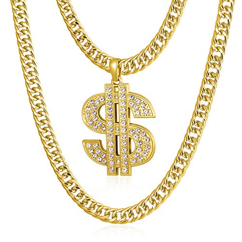 Gold Chain for Men with Dollar Sign Pendant Necklace