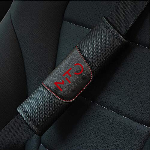 ZXCV 2 Pezzi Cintura Sicurezza Copertura, per Alfa Romeo Mito Spallacci Fibra Carbonio Protezioni Traspirante Morbido Confortevolecon Logo Auto Interni Accessori