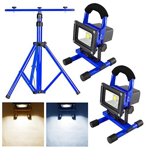 MCTECH 2X 10W Blau Akku LED Baustrahler Warmweiß/Kaltweiß Floodlight IP65 mit Teleskop-Stativ (Stativ+2*10W Warmweiß)