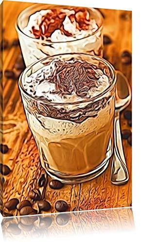 Cappuccino, slagroom en chocolade hagelslagFoto Canvas | Maat: 120x80 cm | Wanddecoraties | Kunstdruk | Volledig gemonteerd