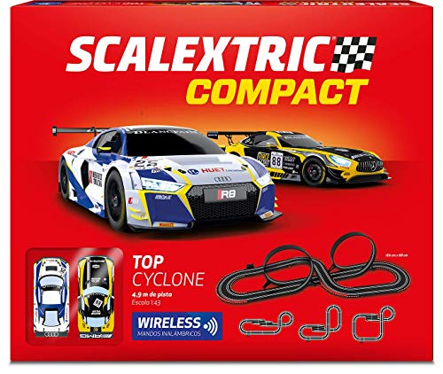 Scalextric- Circuito Top Cyclon 1/43 Mandos Wireless, Multicolor, Talla Única (Scale Competiton Xtreme 14)