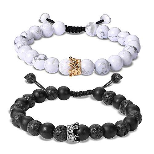 EnjoIt Couples Long Distance Bracelet Crown Queen Er und Ihr Armband Diffusionsperlen Matte Achat und White Howlite Lava Stone C2188