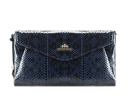 WITTCHEN Tasche aus Narbenleder | Kollektion: Snake | mit Reißverschlus | aus hochwertigen Materialien | elegant und klassisch | Blaue Marine | 15x28 cm
