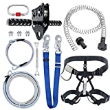 98 Feet Zip Line Kit for Kids and Adult Up to 350 lb with Zipline Spring Brake and Safety Harness, Zip line Trolley with Handle for Backyard Playground Entertainment