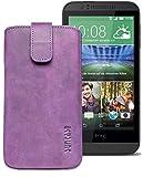 Original Suncase® Etui Tasche für HTC Desire 510 | HTC Desire 526G Dual SIM | ZTE Blade V6 Leder Etui Handytasche Ledertasche Schutzhülle Hülle Hülle *Lasche mit Rückzugfunktion* antik-lila