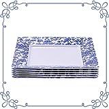 ARC, 6901F Melamine dinnerware, Square Plate set of 6, 100% Melamine (Not Porcelain), FDA Safe, Heavy Duty, 10.5' Shatter-Proof and Chip-Resistant Dinner Plates (White with blue floral design)