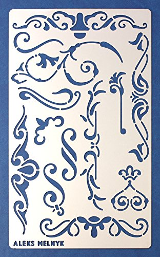 Aleks Melnyk #4 Schablone/Metall Stencil Vorlagen for Painting/Shabby Chic Vintage, Ornamente/1 Stück/DIY Kunst Projekte/Stencil für Scrapbooking und Zeichnen/Brandmalerei Schablone/Basteln