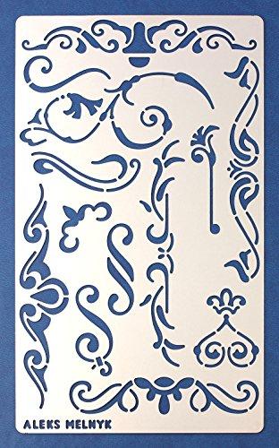 Aleks Melnyk #4 Stencil Plantilla de Metal para estarcir/Vintage, Flores/para Arte Manualidades y decoración/Plantilla para Estarcidos/para Pintar con Aerógrafo/1...