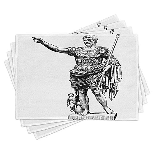 ABAKUHAUS Toga Party maty stołowe, statuetka antyczna Augustusa Vintage stary historyczny król cesarski figura nadruk, Tiscjdeco z trwałego materiału do jadalni i kuchni, kolor biały czarny