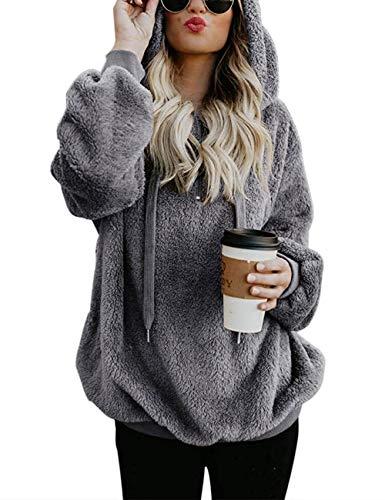 iWoo Hoodie Pullover Teddyfleece Jacke Damen Winter Lose Warm Kapuzenpullover Baumwolle Einfarbig Fleecejacke(Dunkelgrau,XXL)